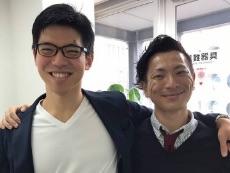 資格スクエア社長の鬼頭さん(左)と司法試験予備試験に合格した佐藤さん